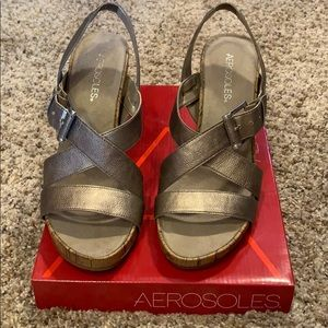 Aerosoles strappy wedge sandal Dove Plush